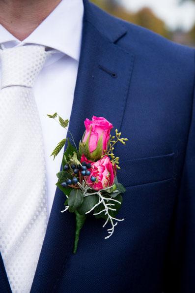corsage, bruiloft, detail, trouwfoto