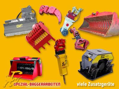 Spezial-Baggerarbeiten Adrian Krieg GmbH, Eschenbach Telefon 079 586 32 47 Anbaugeräte Zubehör