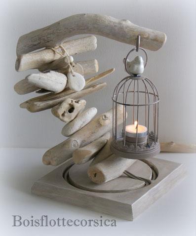 Bougeoir bois flotté socle en bois patiné cage à oiseau métal vendu