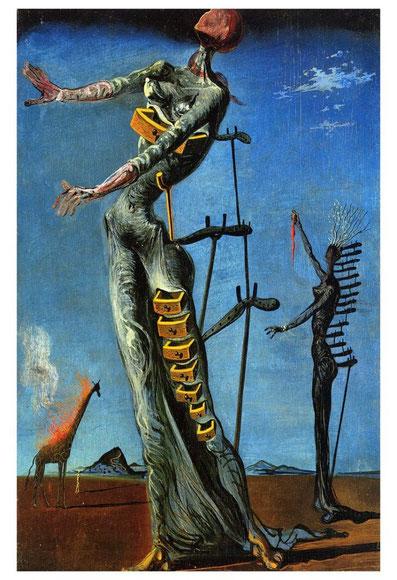 Самые известные картины Дали - Жираф в огне (Пылающий жираф)