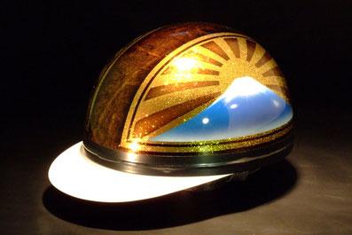 カスタムペイント、ヘルメット、キャンディーフレーク塗装の半帽、コルクキャップ