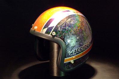 ヘルメットのカスタペイント、キャンディーレインボー塗装のジェットヘルメット