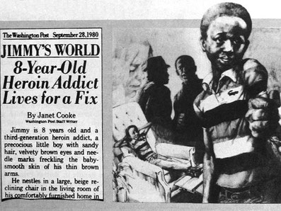 1980: Fiktiver, 8-jähriger Junkie (Washington Post)