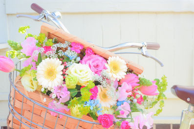 自転車の前かごに乗せられた花かご。パステルカラーの花たちでいっぱいのバスケット。