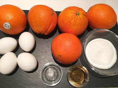 Zustaten: Orangen, Eigelb, Eiweiss, Zucker, Salz, Grand Marnier