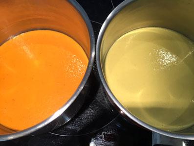 Die beiden Saucen fein mixen