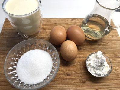 Zutaten Kuchenguss: Rahm, Weißwein, Eier, Zucker, Maizena