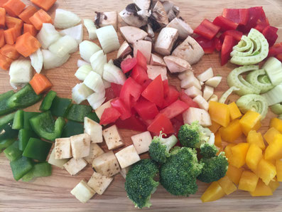 In Würfel geschnittenes Gemüse