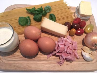 Zutaten: Spaghetti, Schinken, Eier, Käse, Rahm, Zwiebeln, Knoblauch, Cherry Tomaten, Basilikum