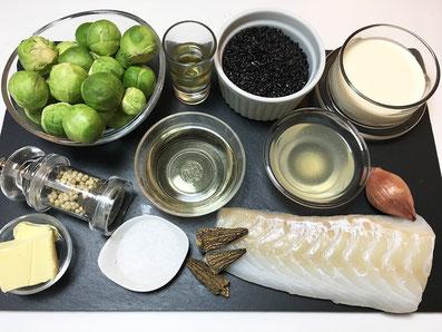 Zutaten: Dorschfilet, Rosenkohl, Weisswein, Wermut, Fischfond, Zwiebel, Rahm, Butter, Morcheln, Schwarzer Reis