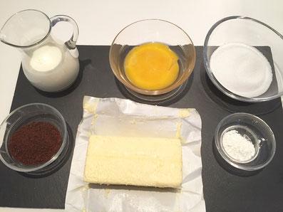 Zutaten: Milch, Eigelb, Stärke, Zucker, Kaffeepulver, Butter