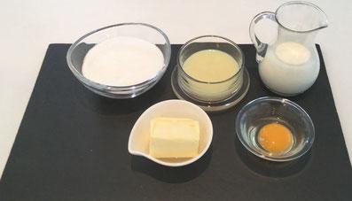 Zutaten: Milch, Kondensmilch, Zucker, Ei, Butter