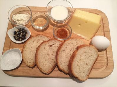 Zutaten: Brot, Käse, Mehl, Milch, Ei, Weisswein, Gewürze