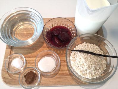 Zutaten: Risotto, Wasser, Milch, Salz, Zucker, Vanilleschote, Zimt, Zwetschgen-Kompott
