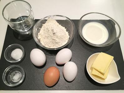 Zutaten: Milch, Wasser, Butter, Zucker, Salz, Mehl, Eier