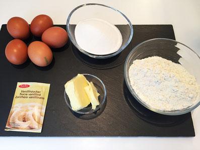 Zutaten: Eier, Zucker, Mehl, Butter, Vaniellezucker