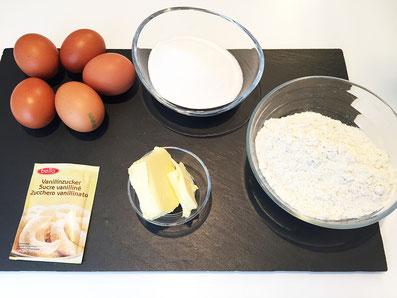 Zutaten: Eier, Zucker, Wasser, Butter,Mehl, Vanillezucker