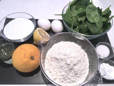 Zutaten-Teig: Spinat, Eier, Zucker, Orange, Zitrone, Mehl, Sonnenblumenöl, Backpulver, Vanillezucker
