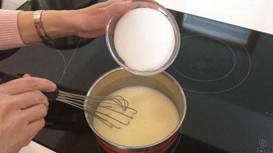 Mit dem Zucker verrühren