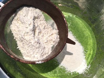 Das Mehl über die Spinatmasse sieben
