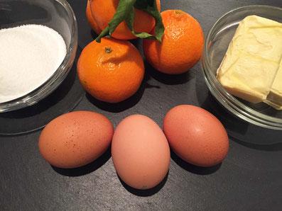 Zutaten: Mandarinen, Zucker, Butter, Eier