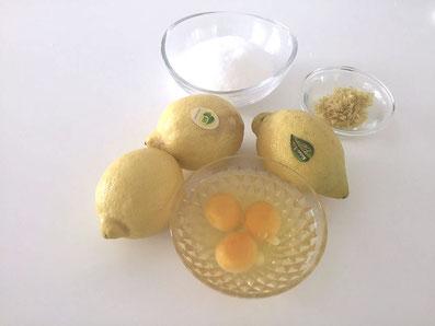 Zutaten für die Crème: Zitronensaft, Zitronenzesten, Zucker, Eier, Butter