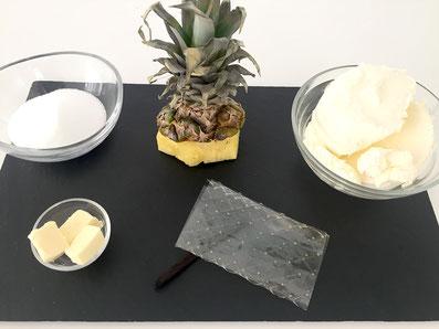 Zutaten: Mascarpone, Zucker, Butter, Gelatine, Vanilleschote