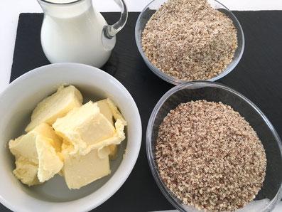 Zutaten für die Crème: Haselnüsse, Mandeln, Butter, Milch, Zucker