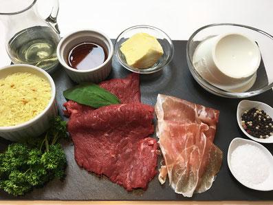 Zutaten: Rindsplätzchen, Parma-Schinken, Ricotta, Petersilie, Salbei, Weisswein, Kalbsfond, Butter, Kurkuma-Reis