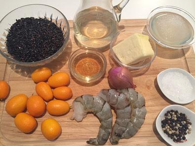 Zutaten: Crevetten, Kumquat, Grand Marnier, Weisswein, Fischfond, Butter, Zwiebel, Venere Reis