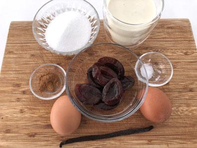 Zutaten: Eier, Vanilleschote, Zucker, Zimt, Salz, Rahm, Kompott