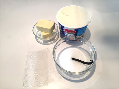 Zutaten für die Mascarpone-Crème: Mascarpone, Butter, Zucker, Vanilleschote, Gelatine-Blätter