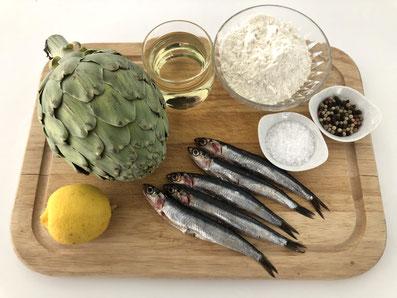 Zutaten: Sardellen, Artischocken, Zitronen, Mehl, Sonnenblumenöl, Salz, Pfeffer, Petersilie