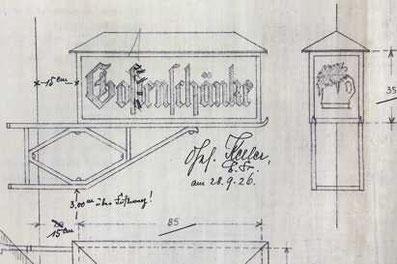 Julius-Fucik-Str. 24, Konstruktionszeichnung Reklamelaterne