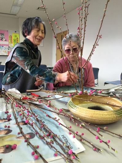 もうすぐ「ひな祭り」です。先生の指導を受けながら桃の花を生けました