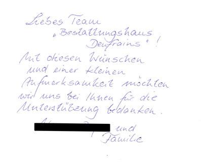 Bestattung Eberswalde Deufrains Dankeskarte 2