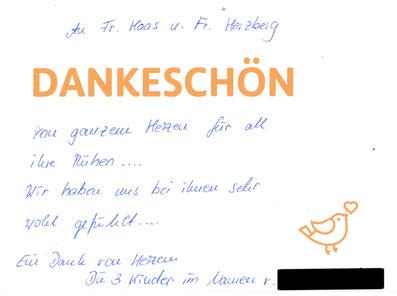 Bestattungen Deufrains Biesenthal Dankeskarte