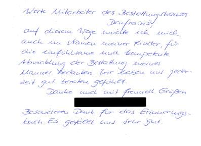 Bestattungen Deufrains Schorfheide Dankeskarte