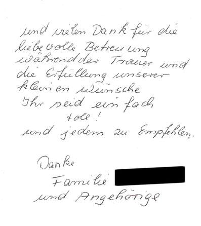 Bestattungsinstitut Deufrains Eberswalde Dankeskarte