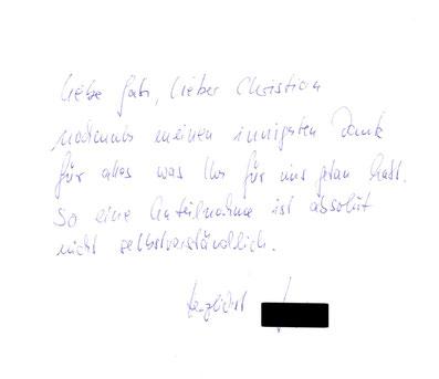 Bestattungshaus Deufrains Dankeskarte Finowfurt Schorfheide