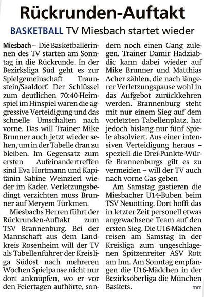 Artikel im Miesbacher Merkur am 18.1.2020 - Zum Vergrößern klicken