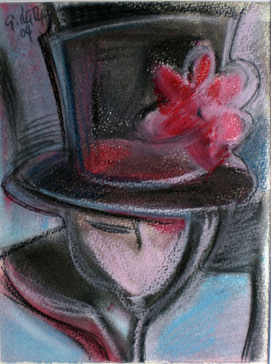 """Blumen am Hut"", 2004, Ölkreide, Bleistift"