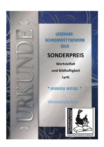 Annika Weigl, 13 Jahre, Grimmelshausen Gymnnasium Offenburg