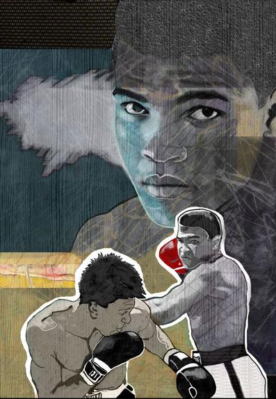Muhammad Ali, Computergrafik auf Leinen, 80 x 120cm, 2019