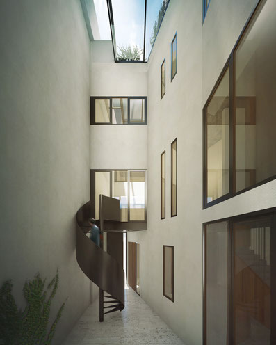 Proyecto Patiohaus. Vivienda Passivhaus. Passive House. Diseño. Arquitectura. Sevilla. Málaga. Edificio de Consumo Casi Nulo de Energía. NZEB. Andalucía. Eficiencia Energética. Sostenibilidad.