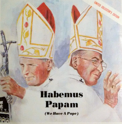 THE COVER OF DAVID'S LONG-PLAYING RECORD DESCRIBING THE SURPRISING ELECTION OF TWO CONSECUTIVE POPES FOLLOWING THE DEATH OF POPE PAUL VI IN 1978