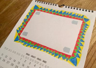 bastelkalender, bilderrahmen, fotokleber