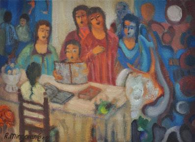 Observan la intensidad de los niños en la función leer  - 33 x 23,5 cm cm - óleo/lienzo  Guillermo R Mingorance