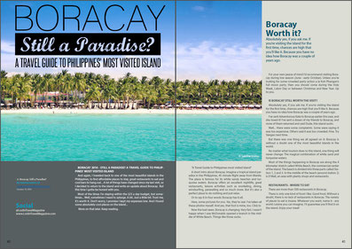 "Lost in Travel Magazine November Issue 2014 features my article ""Boracay - Still A Paradise? A Travel Guide to Philippines' most Visited Island"" by Sabrina Iovino 