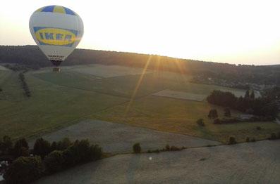 Ballonfahrt über dem Taunus, Deutschland